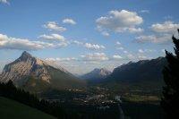 The town of Banff near sunset