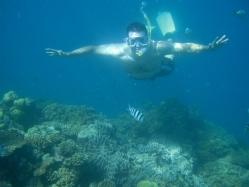 Ben snorkeling in the Great Barrier Reef